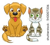 Stock vector cute cartoon cat and dog 543007336
