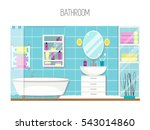bathroom interior design.... | Shutterstock .eps vector #543014860