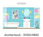 bathroom interior design.... | Shutterstock .eps vector #543014860