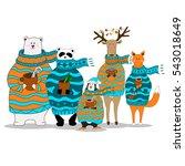 vector panda bear fox penguin... | Shutterstock .eps vector #543018649