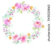 watercolor floral wreath in... | Shutterstock . vector #543020860