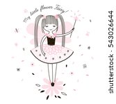 cute little flower fairy ... | Shutterstock .eps vector #543026644
