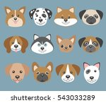 vector set with cute cartoon... | Shutterstock .eps vector #543033289