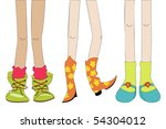 sketch with girl shoes and legs | Shutterstock .eps vector #54304012