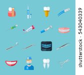 dentist isolated flat icons set ... | Shutterstock . vector #543040339