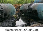 Wreck of oil tanks - stock photo