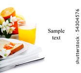 breakfast with toast, jam and juice on white isolated background(With sample text) - stock photo