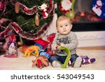 christmas portrait of a young... | Shutterstock . vector #543049543