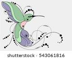 humming bird silhouette....   Shutterstock .eps vector #543061816