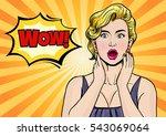 beautiful surprised woman in... | Shutterstock .eps vector #543069064