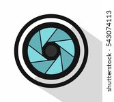 camera shutter icon. flat... | Shutterstock .eps vector #543074113