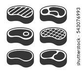 steak icons set. vector | Shutterstock .eps vector #543076993
