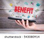 benefit concept. tablet... | Shutterstock . vector #543080914