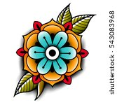old school tattoo art flowers... | Shutterstock .eps vector #543083968