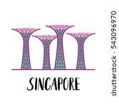 famous singapore landmark... | Shutterstock .eps vector #543096970