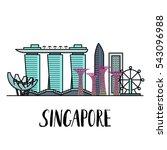 famous singapore landmarks... | Shutterstock .eps vector #543096988