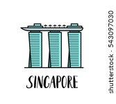 famous singapore landmark...   Shutterstock .eps vector #543097030