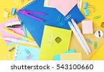 colorful stationery on yellow... | Shutterstock . vector #543100660