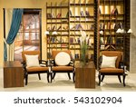 home library with arm chair.... | Shutterstock . vector #543102904