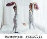 children in soft warm pajamas... | Shutterstock . vector #543107218