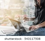 digital marketing via... | Shutterstock . vector #543117508