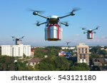 drone with white gift box... | Shutterstock . vector #543121180