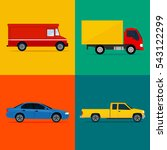 color cars icon set. vehicles... | Shutterstock .eps vector #543122299