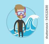 diver standing in diving suit ...   Shutterstock .eps vector #543122830