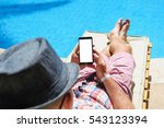 man in hat sunbathing on the... | Shutterstock . vector #543123394