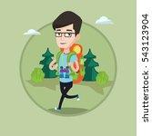 caucasian backpacker with... | Shutterstock .eps vector #543123904