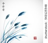 blue leaves of grass hand drawn ... | Shutterstock .eps vector #543125548