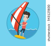 caucasian windsurfer... | Shutterstock .eps vector #543125830