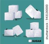 sugar white cube set vector... | Shutterstock .eps vector #543130000
