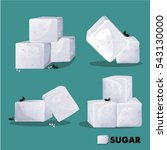 Sugar White Cube Set Vector...