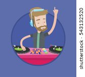a hipster young dj with the... | Shutterstock .eps vector #543132520
