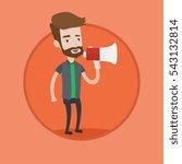 promoter holding megaphone.... | Shutterstock .eps vector #543132814