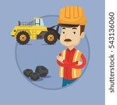 an adult caucasian miner in... | Shutterstock .eps vector #543136060