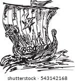 drakkar icon. hand drawn image... | Shutterstock .eps vector #543142168