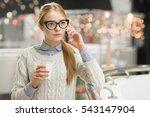 cute beautiful girl talking on... | Shutterstock . vector #543147904
