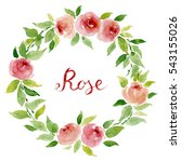 watercolor floral wreath with... | Shutterstock . vector #543155026