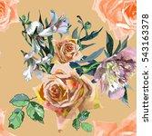 hand painting orange roses... | Shutterstock . vector #543163378