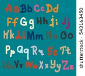 vector hand drawn alphabet.... | Shutterstock .eps vector #543163450