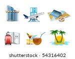 vacation and travel icons   Shutterstock .eps vector #54316402