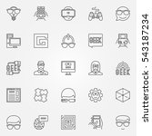geek icons set. vector nerd and ... | Shutterstock .eps vector #543187234