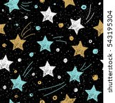 doodle star seamless background.... | Shutterstock .eps vector #543195304