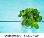 Small photo of sheaf of fresh mint leaf on blue background. Top view or flat lay. Copy space