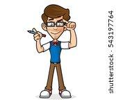 nerd guy holding glasses | Shutterstock .eps vector #543197764