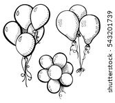 group of balloons on a string.... | Shutterstock .eps vector #543201739