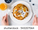 corn pancakes with caramelized... | Shutterstock . vector #543207064