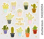 big set of cute cartoon cactus... | Shutterstock .eps vector #543235054